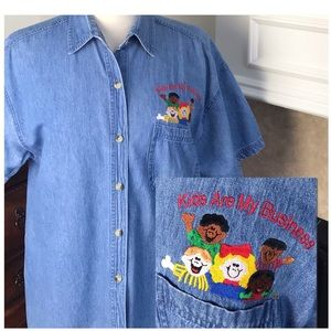 Vintage Embroidered Denim Faded Gear Shirt